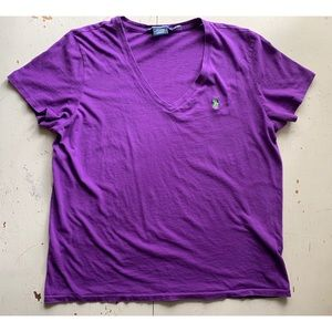 ralph lauren sport :: purple v neck tee